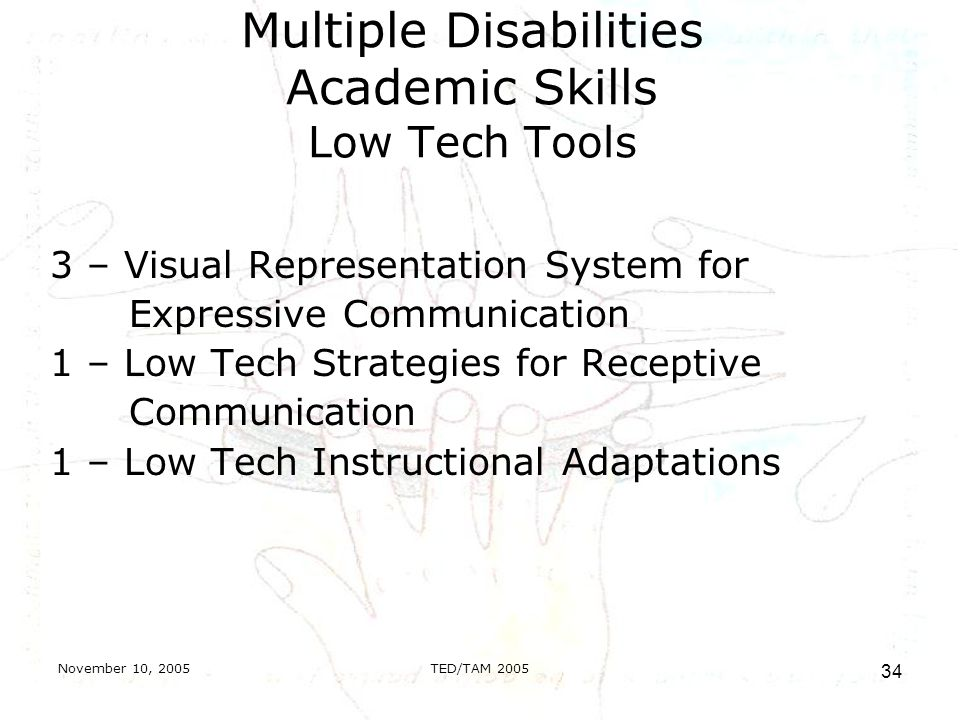 November 10, 2005TED/TAM Multiple Disabilities Academic Skills Low Tech Tools 3 – Visual Representation System for Expressive Communication 1 – Low Tech Strategies for Receptive Communication 1 – Low Tech Instructional Adaptations