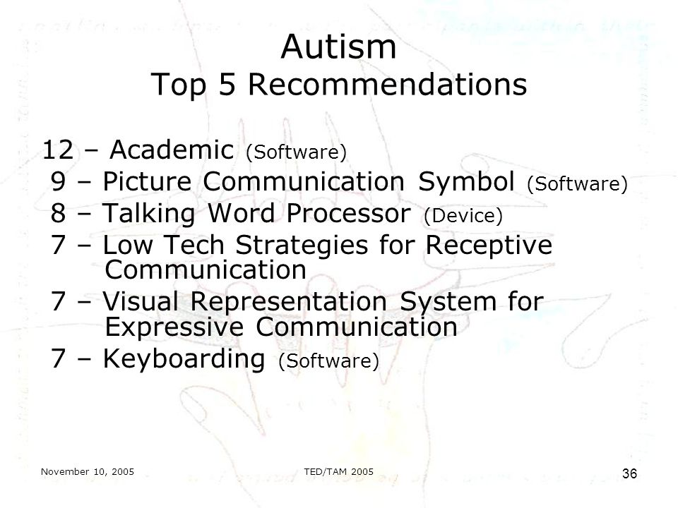 November 10, 2005TED/TAM Autism Top 5 Recommendations 12 – Academic (Software) 9 – Picture Communication Symbol (Software) 8 – Talking Word Processor (Device) 7 – Low Tech Strategies for Receptive Communication 7 – Visual Representation System for Expressive Communication 7 – Keyboarding (Software)