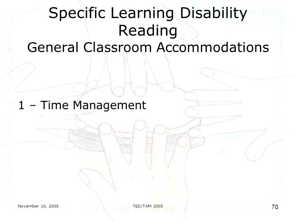 November 10, 2005TED/TAM Specific Learning Disability Reading General Classroom Accommodations 1 – Time Management
