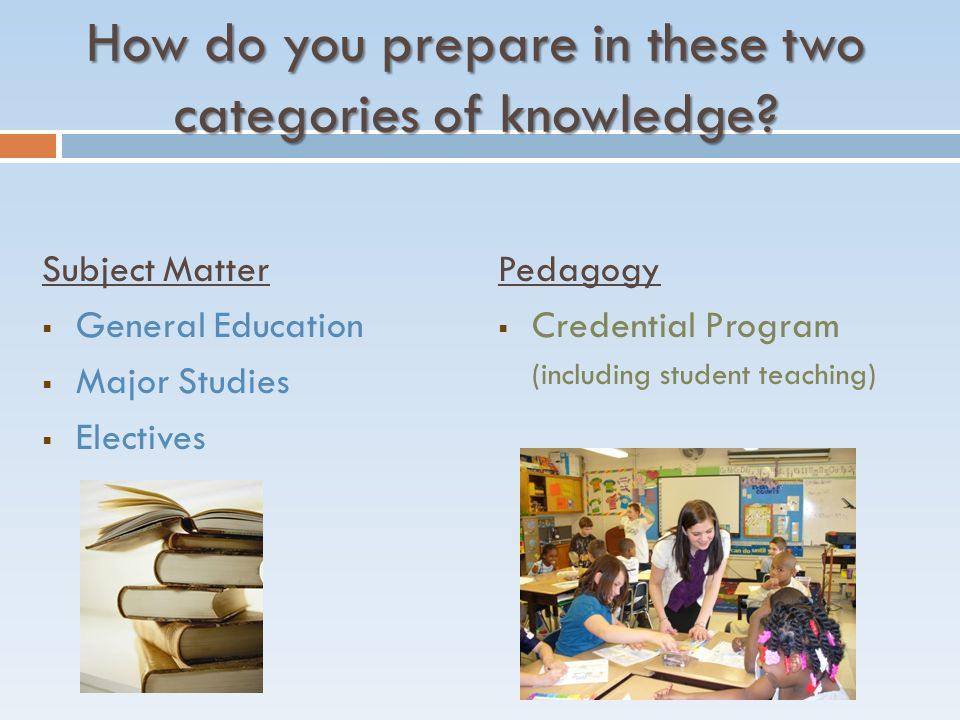 How do you prepare in these two categories of knowledge.
