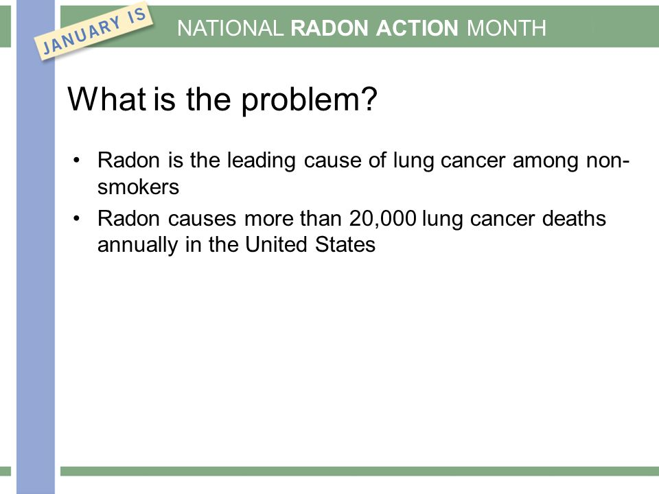 NATIONAL RADON ACTION MONTH What is the problem.