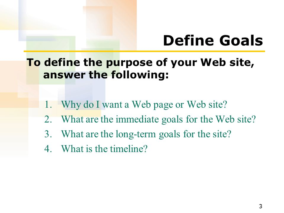 1 after completing this lesson you will be able to define your 3 define goals to define the purpose of your web site answer the following malvernweather Gallery