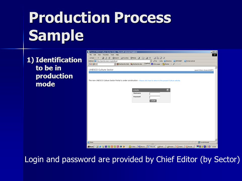 Production Process Sample Login and password are provided by Chief Editor (by Sector) 1)Identification to be in production mode
