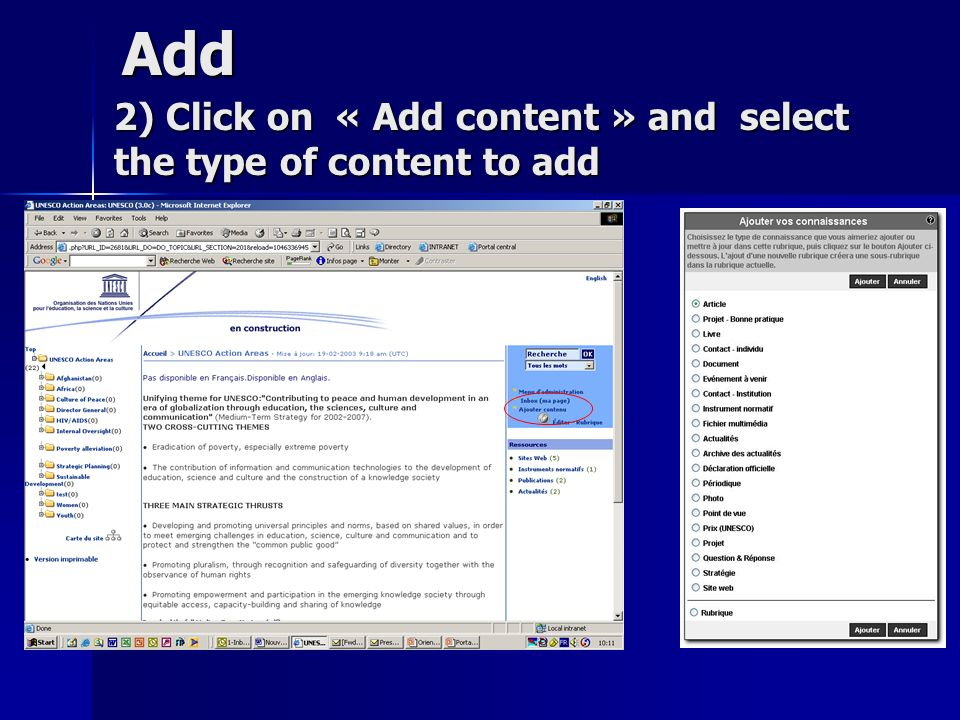 Add 2) Click on « Add content » and select the type of content to add