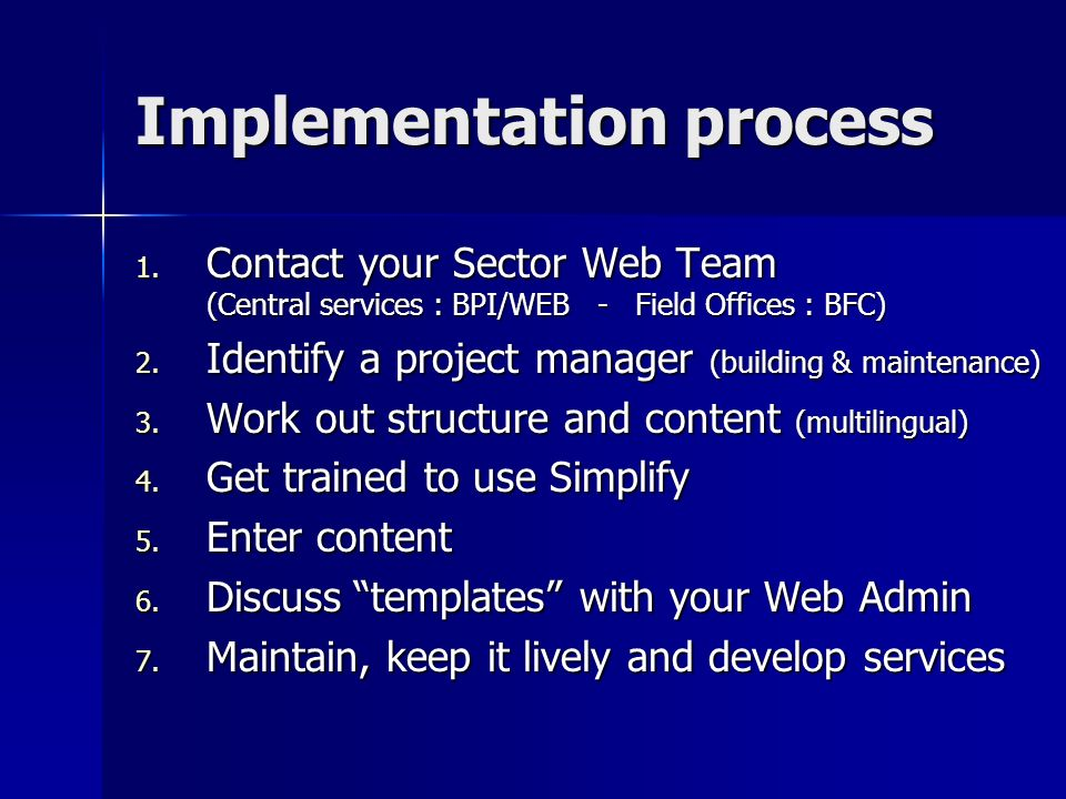 Implementation process 1.