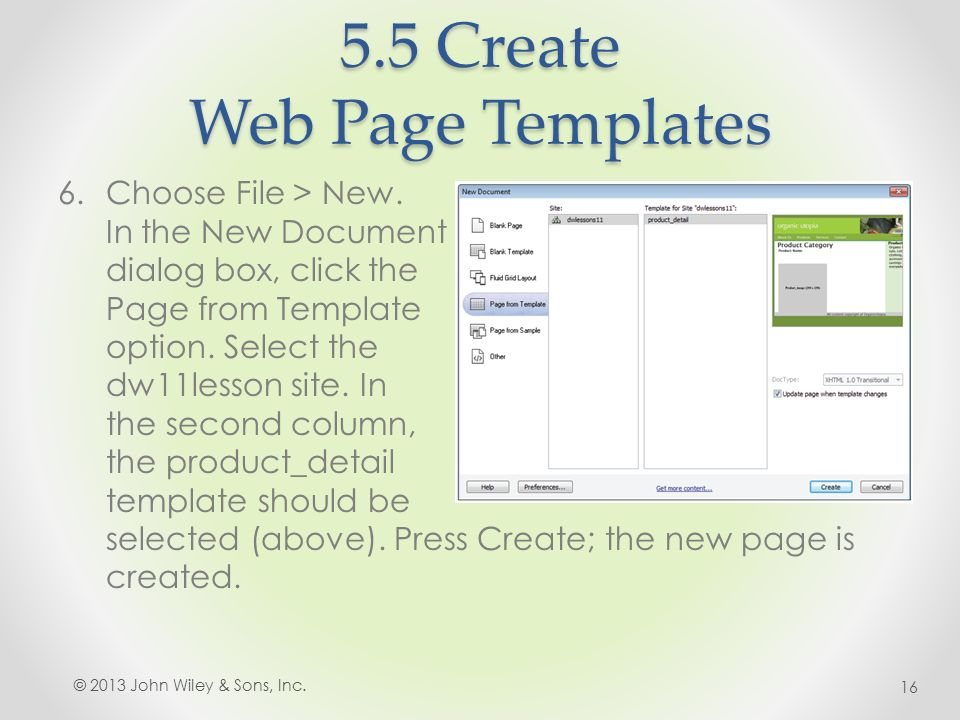 5.5 Create Web Page Templates 6.Choose File > New.