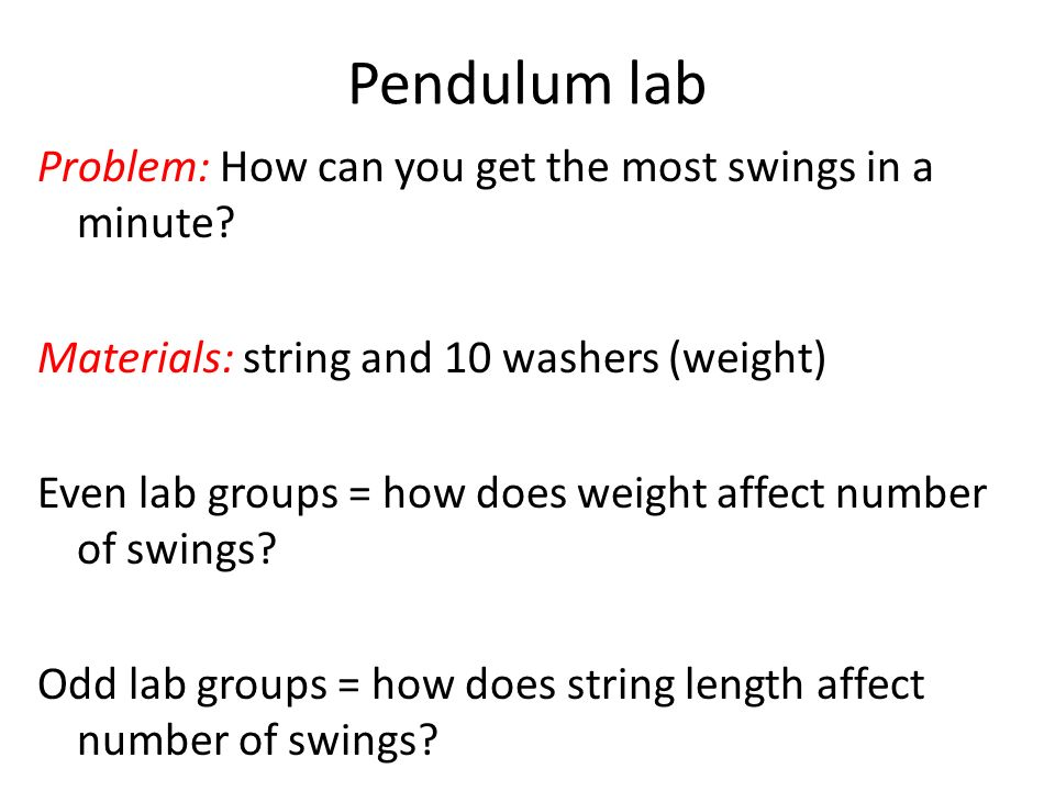 Pendulum lab Problem: How can you get the most swings in a minute.