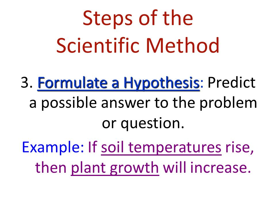 Steps of the Scientific Method Formulate a Hypothesis 3.