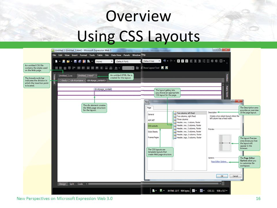 Overview Using CSS Layouts New Perspectives on Microsoft Expression Web 3.016
