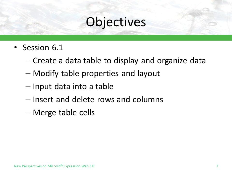 Objectives Session 6.1 – Create a data table to display and organize data – Modify table properties and layout – Input data into a table – Insert and delete rows and columns – Merge table cells 2New Perspectives on Microsoft Expression Web 3.0