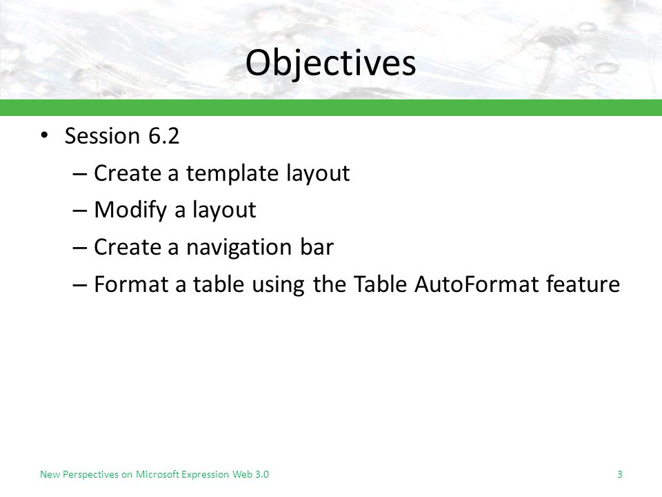 Objectives Session 6.2 – Create a template layout – Modify a layout – Create a navigation bar – Format a table using the Table AutoFormat feature New Perspectives on Microsoft Expression Web 3.03