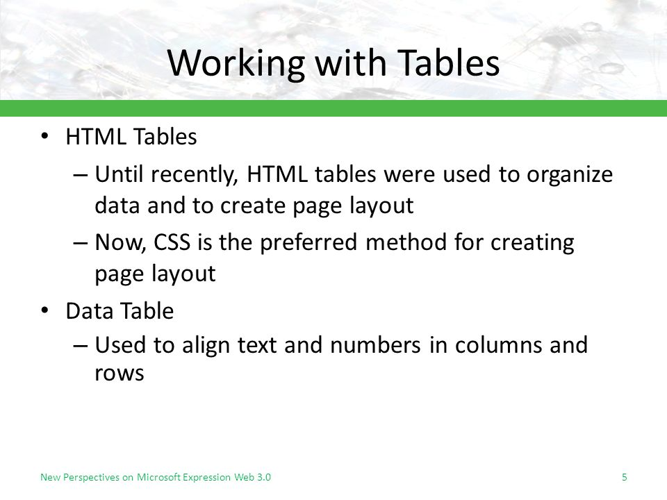 Working with Tables HTML Tables – Until recently, HTML tables were used to organize data and to create page layout – Now, CSS is the preferred method for creating page layout Data Table – Used to align text and numbers in columns and rows New Perspectives on Microsoft Expression Web 3.05