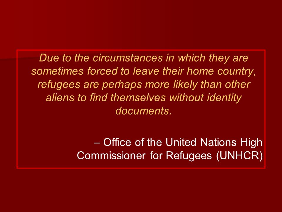 Due to the circumstances in which they are sometimes forced to leave their home country, refugees are perhaps more likely than other aliens to find themselves without identity documents.