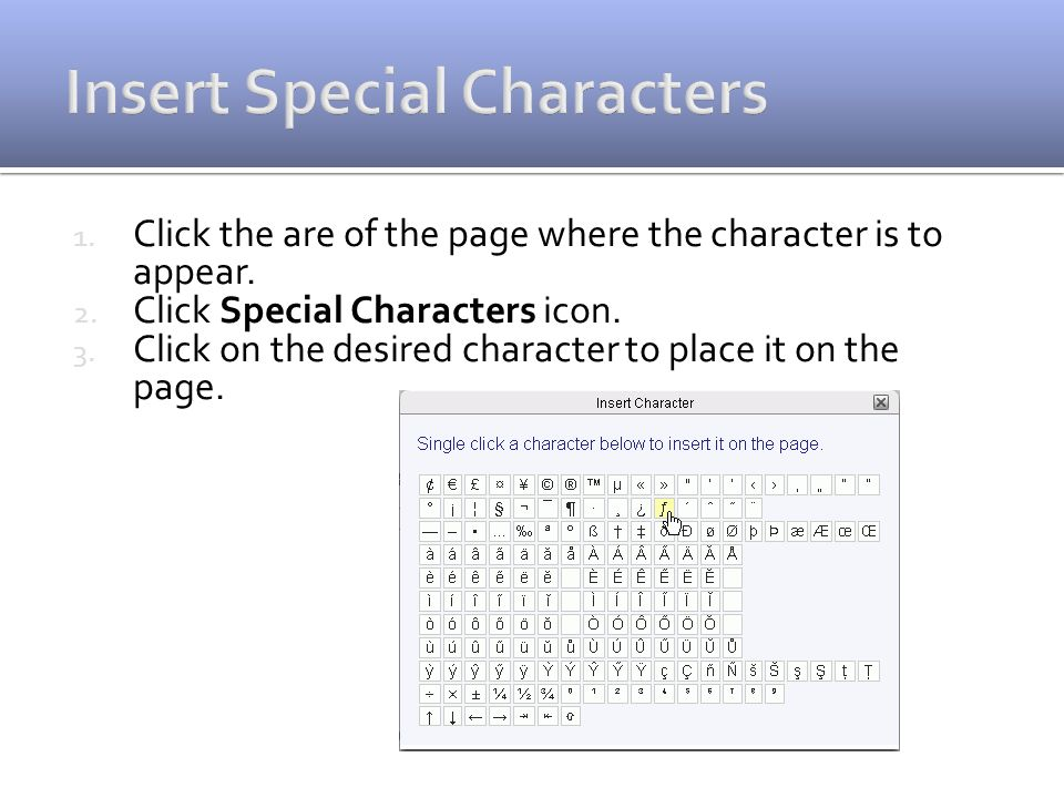 1. Click the are of the page where the character is to appear.
