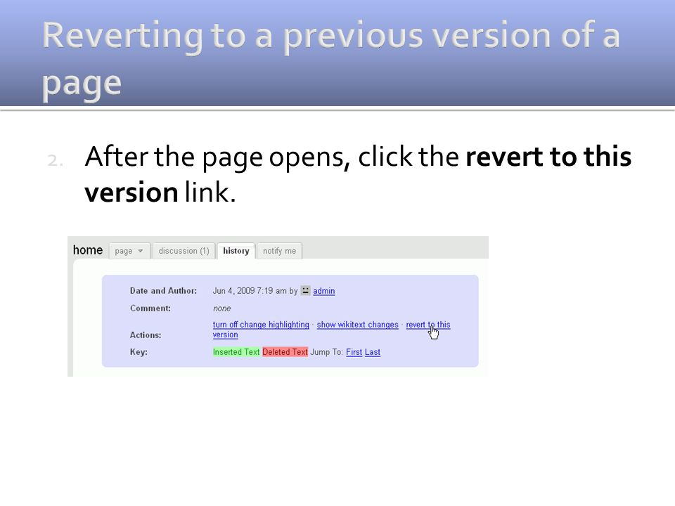 2. After the page opens, click the revert to this version link.