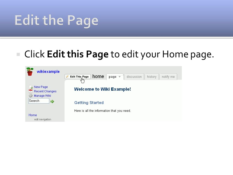  Click Edit this Page to edit your Home page.