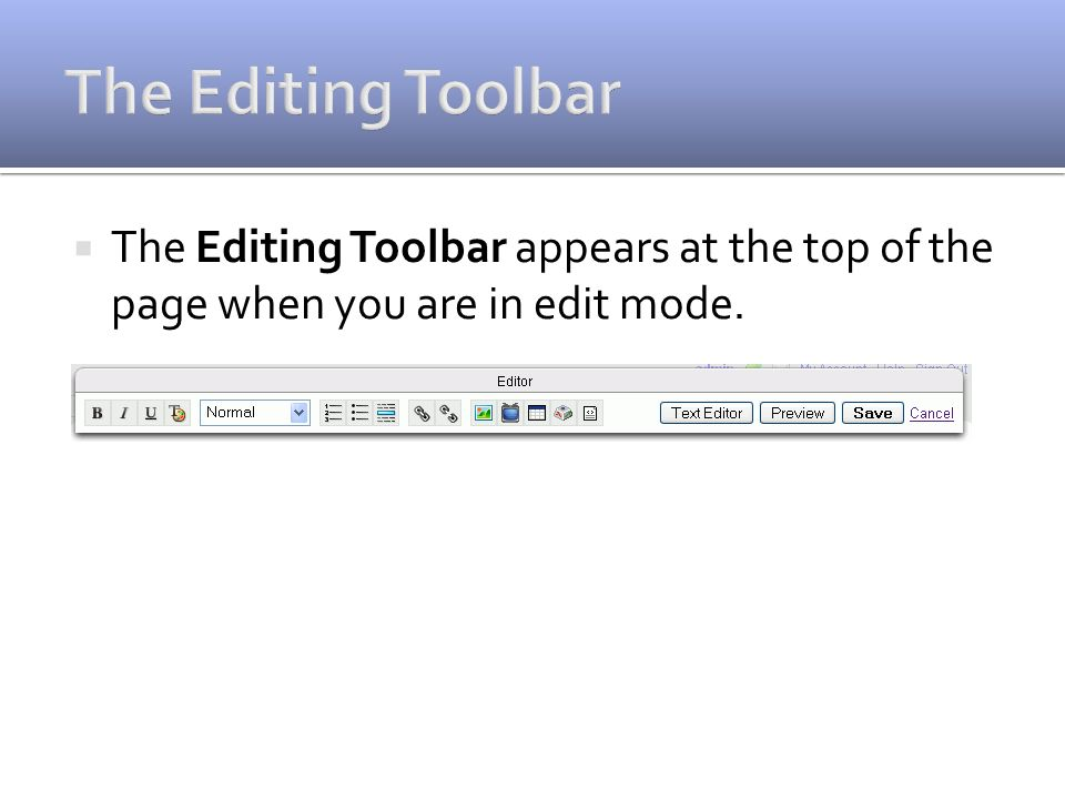 The Editing Toolbar appears at the top of the page when you are in edit mode.