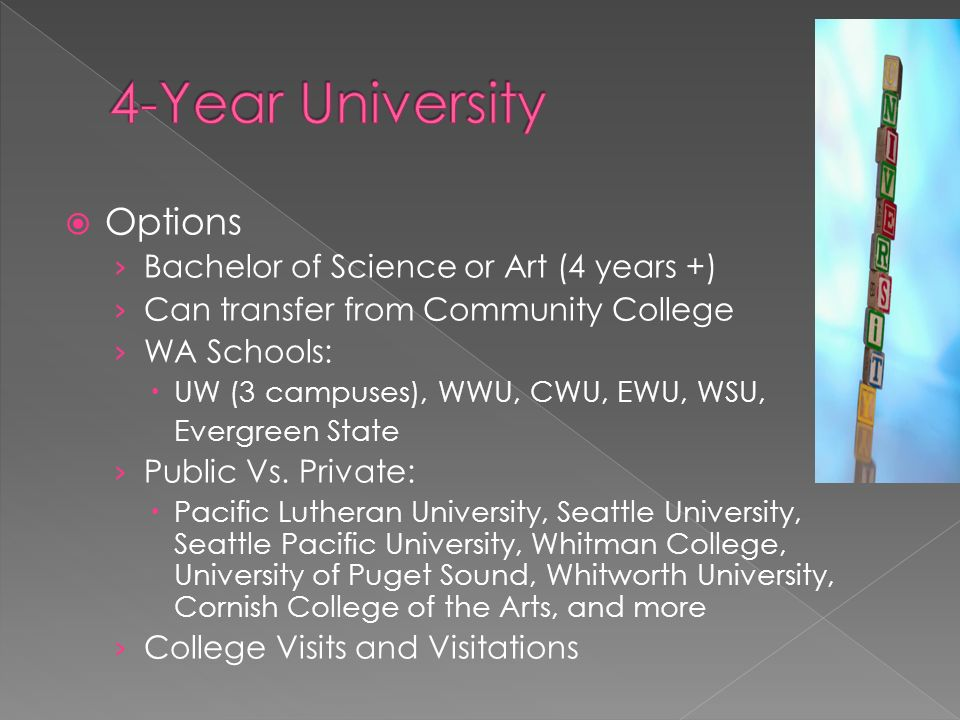  Options › Bachelor of Science or Art (4 years +) › Can transfer from Community College › WA Schools:  UW (3 campuses), WWU, CWU, EWU, WSU, Evergreen State › Public Vs.