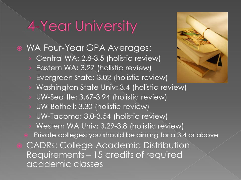  WA Four-Year GPA Averages: › Central WA: (holistic review) › Eastern WA: 3.27 (holistic review) › Evergreen State: 3.02 (holistic review) › Washington State Univ: 3.4 (holistic review) › UW-Seattle: (holistic review) › UW-Bothell: 3.30 (holistic review) › UW-Tacoma: (holistic review) › Western WA Univ: (holistic review)  Private colleges: you should be aiming for a 3.4 or above  CADRs: College Academic Distribution Requirements – 15 credits of required academic classes