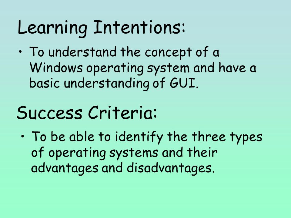 Learning Intentions: To understand the concept of a Windows operating system and have a basic understanding of GUI.