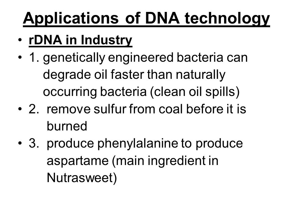Applications of DNA technology rDNA in Industry 1.