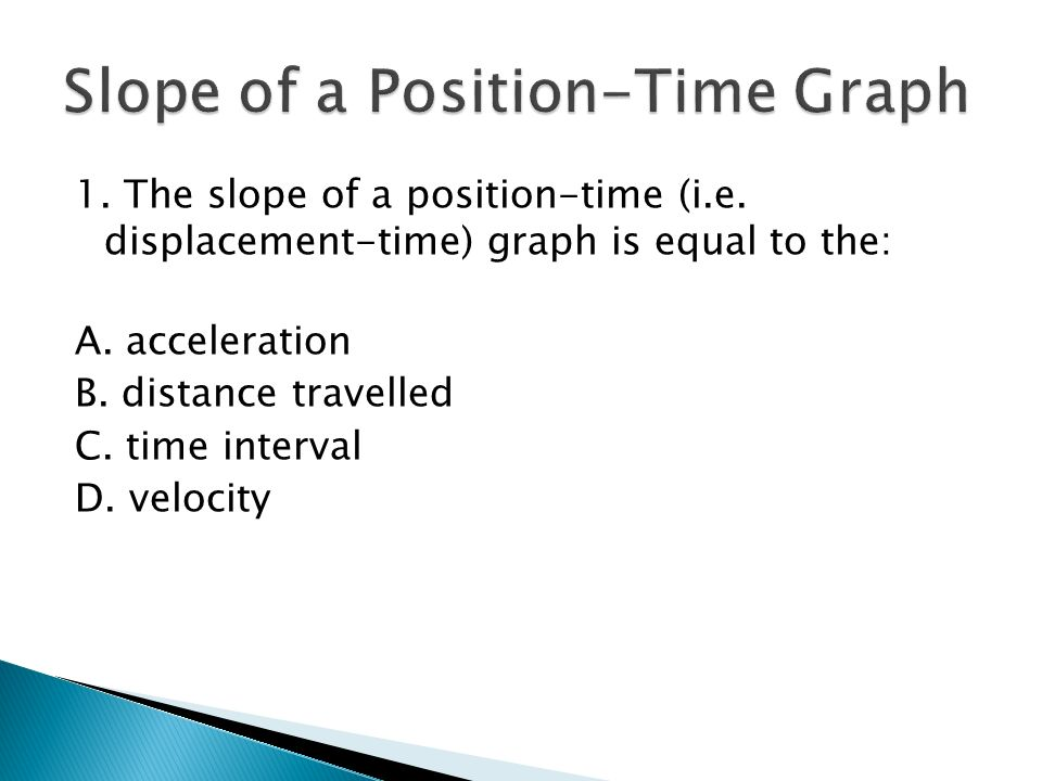 SPH3U Exam Review  1  The slope of a position-time (i e