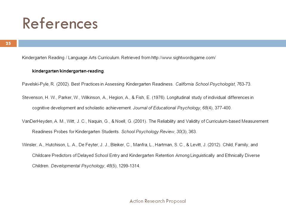 Kindergarten School Readiness 1 Action Research Proposal Rhonda Hill