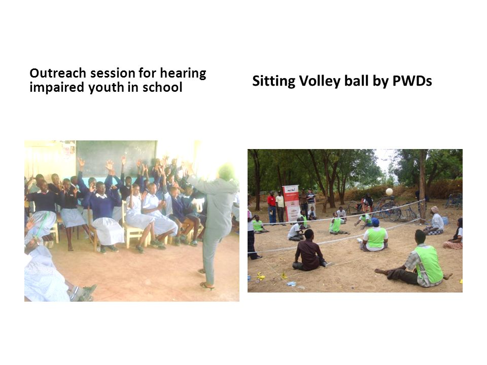 Outreach session for hearing impaired youth in school Sitting Volley ball by PWDs