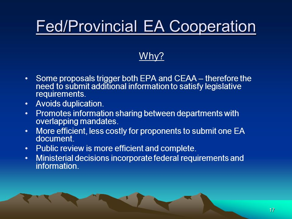 17 Fed/Provincial EA Cooperation Why.