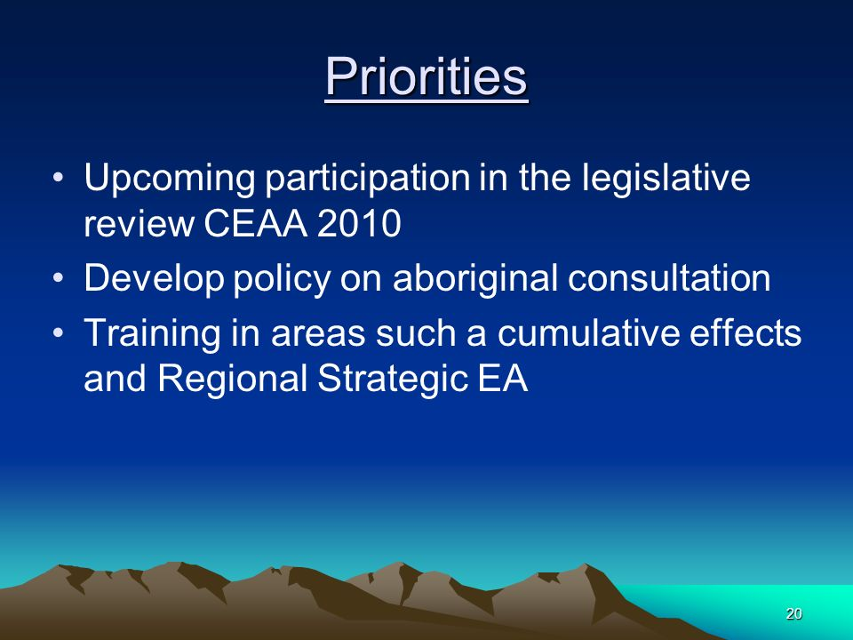 20 Priorities Upcoming participation in the legislative review CEAA 2010 Develop policy on aboriginal consultation Training in areas such a cumulative effects and Regional Strategic EA
