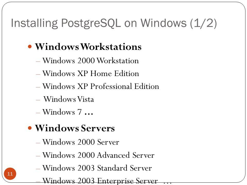 Install Postgresql Windows