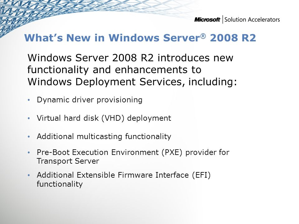 Windows ® Deployment Services Infrastructure Planning and Design