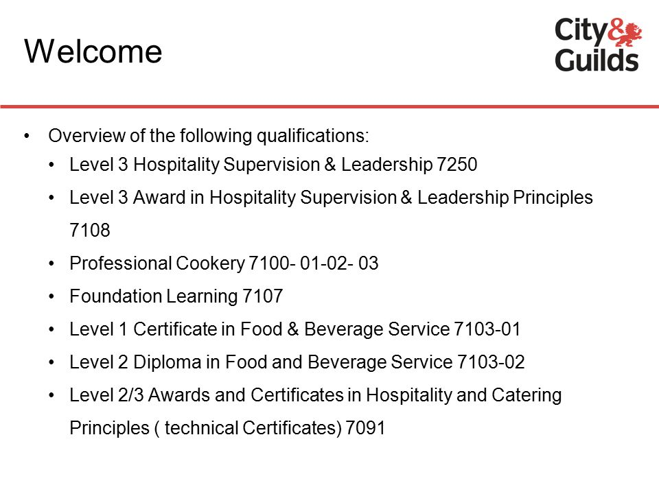 city guilds hospitality catering welcome overview of the rh slideplayer com Learner University of Subway Guide Learner University of Subway Guide