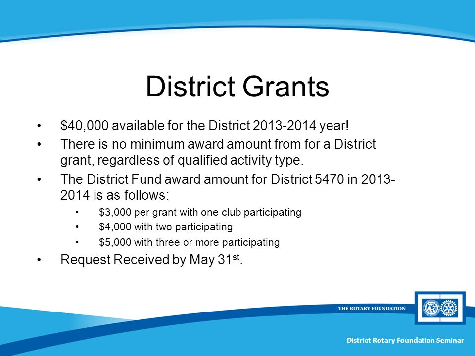 District Rotary Foundation Seminar District Grants $40,000 available for the District year.
