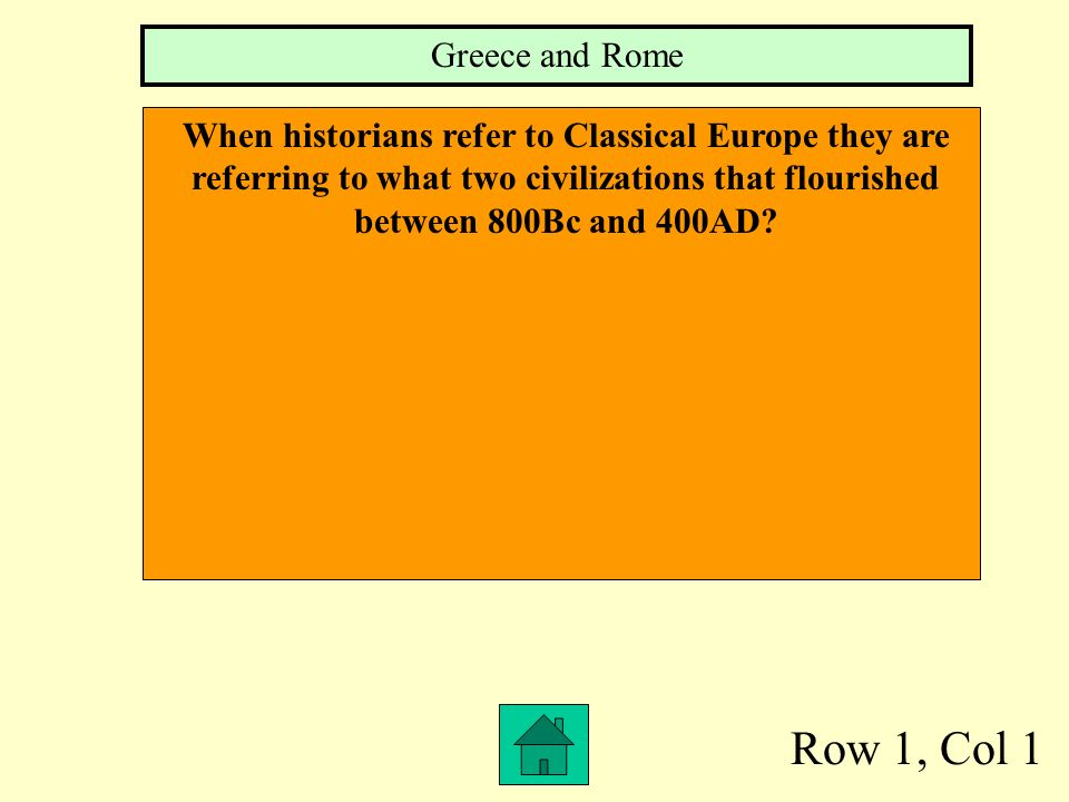 Classical Greece Medieval Europe Rise of Rome to the Holy Roman Empire Mixed Bag