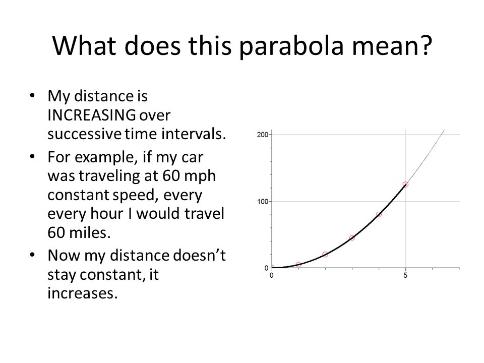 What does this parabola mean. My distance is INCREASING over successive time intervals.