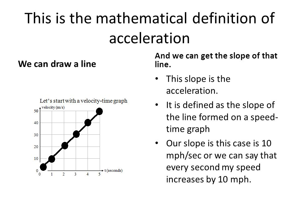 This is the mathematical definition of acceleration We can draw a line And we can get the slope of that line.