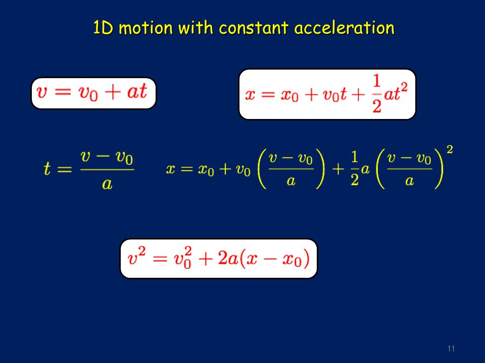 11 1D motion with constant acceleration