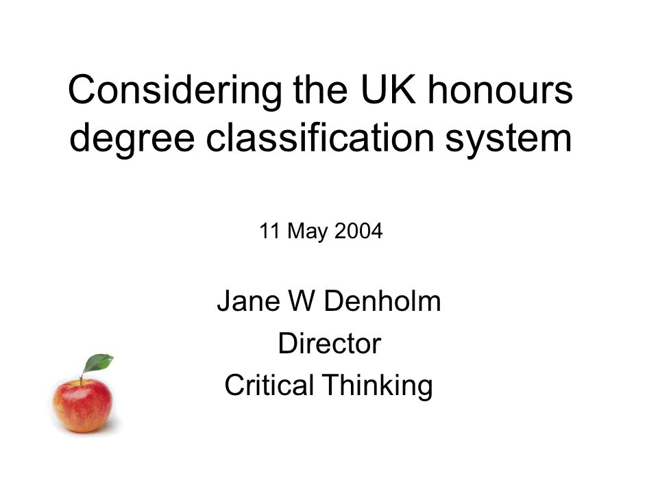 Considering the UK honours degree classification system Jane W