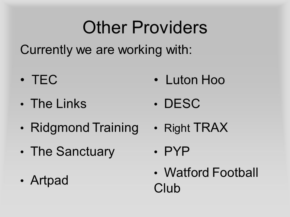 Other Providers TEC Luton Hoo The Links DESC Ridgmond Training Right TRAX The Sanctuary PYP Artpad Watford Football Club Currently we are working with:
