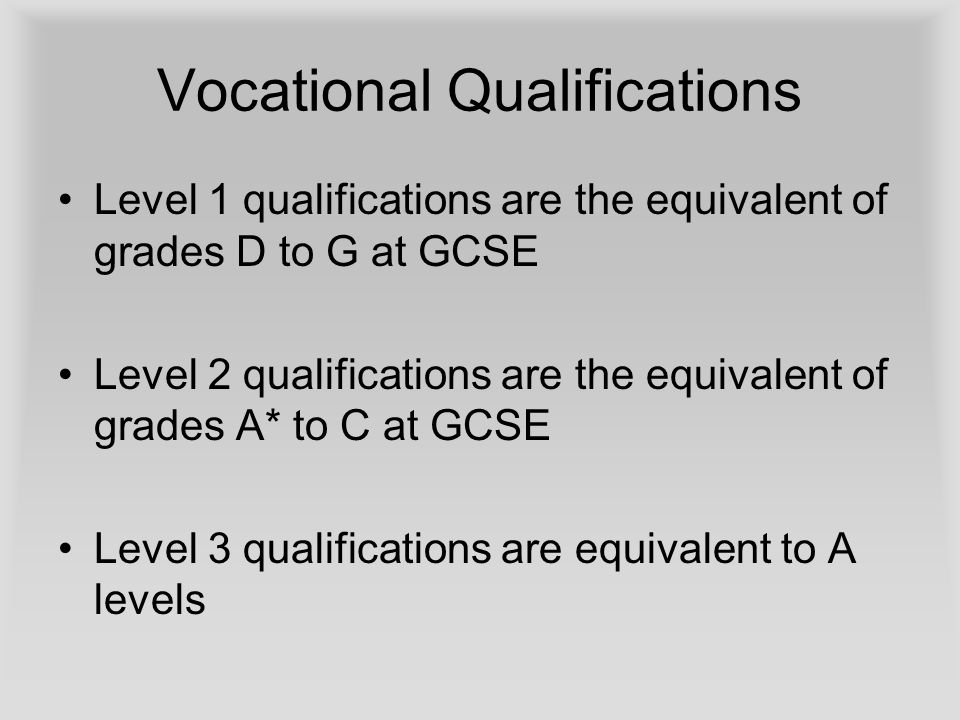 Vocational Qualifications Level 1 qualifications are the equivalent of grades D to G at GCSE Level 2 qualifications are the equivalent of grades A* to C at GCSE Level 3 qualifications are equivalent to A levels