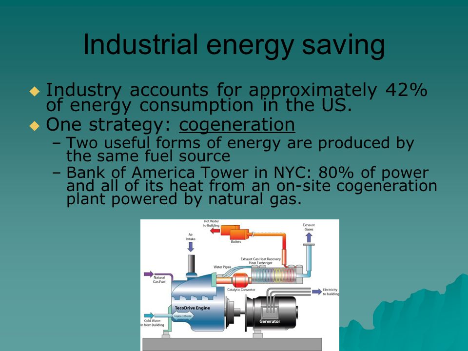 Industrial energy saving  Industry accounts for approximately 42% of energy consumption in the US.