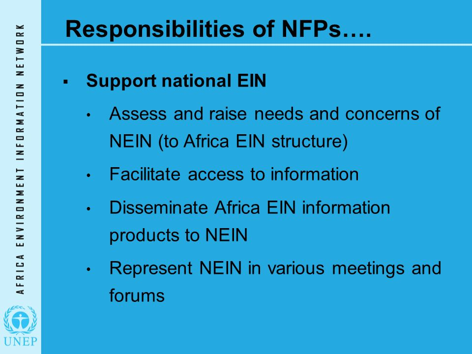 Responsibilities of NFPs….