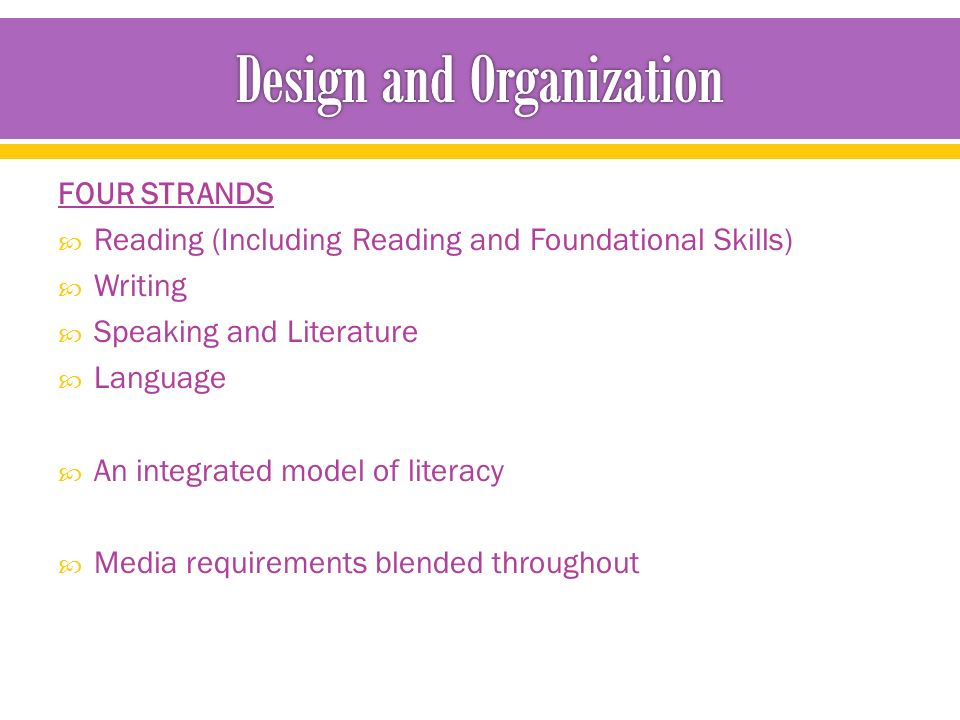 FOUR STRANDS  Reading (Including Reading and Foundational Skills)  Writing  Speaking and Literature  Language  An integrated model of literacy  Media requirements blended throughout