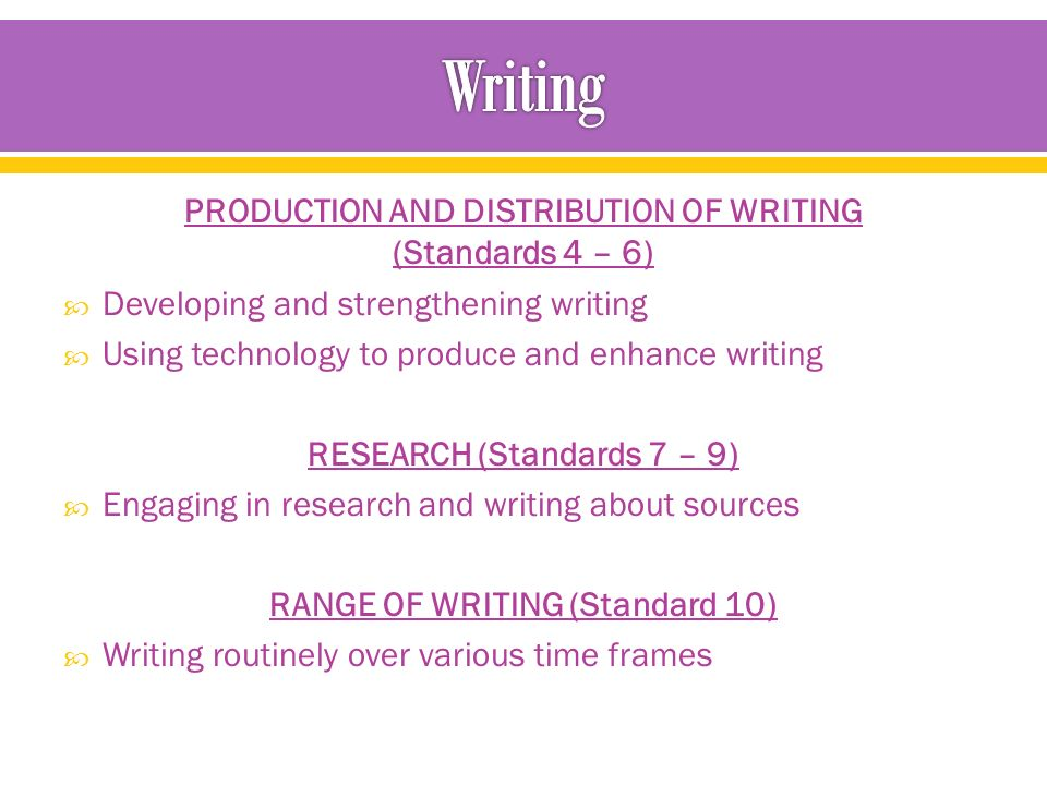 PRODUCTION AND DISTRIBUTION OF WRITING (Standards 4 – 6)  Developing and strengthening writing  Using technology to produce and enhance writing RESEARCH (Standards 7 – 9)  Engaging in research and writing about sources RANGE OF WRITING (Standard 10)  Writing routinely over various time frames