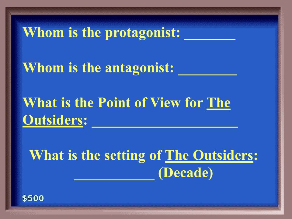 the outsiders protagonist