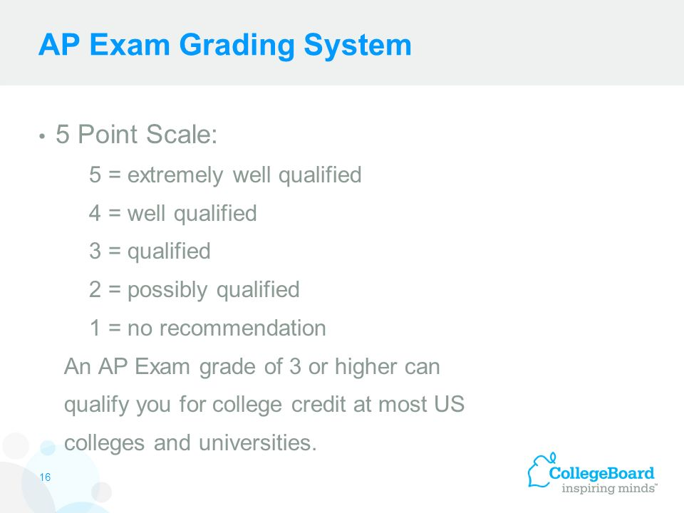 AP Exam Grading System 5 Point Scale: 5 = extremely well qualified 4 = well qualified 3 = qualified 2 = possibly qualified 1 = no recommendation An AP Exam grade of 3 or higher can qualify you for college credit at most US colleges and universities.