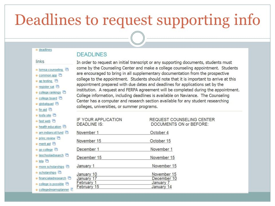 Deadlines to request supporting info