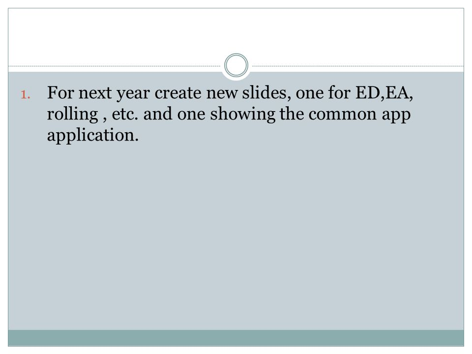 1. For next year create new slides, one for ED,EA, rolling, etc.