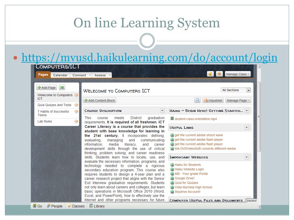 On line Learning System